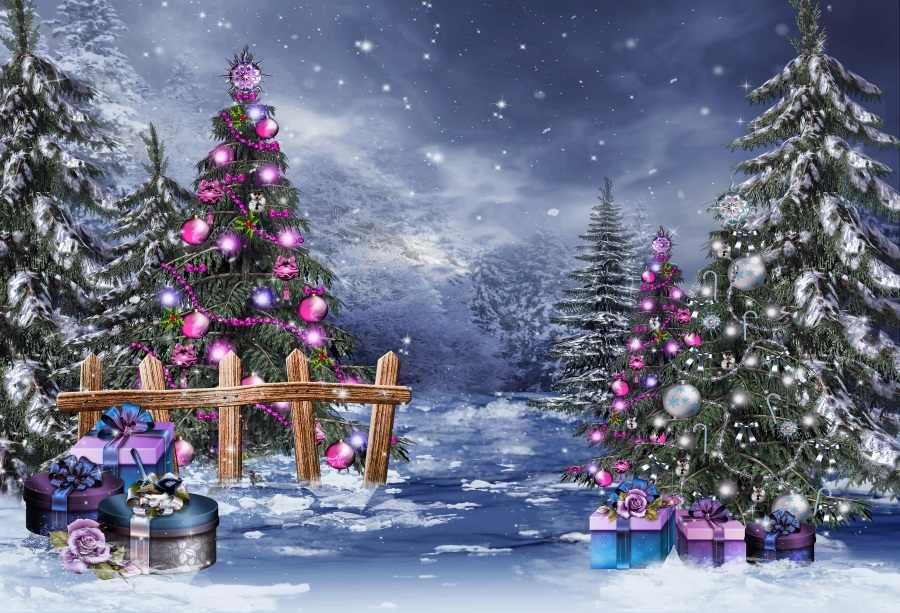 Laeacco Winter Snow Christmas Tree Light Bokeh Gift Photography Background Customized Photographic Backdrops For Photo Studio