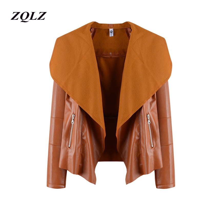 Zqlz New Spring Faux   Leather   Jacket Women Zipper Ladies   Suede   Motorcycle Coat Punk Biker Jackets Street Faux   Leather   Jacket Coat