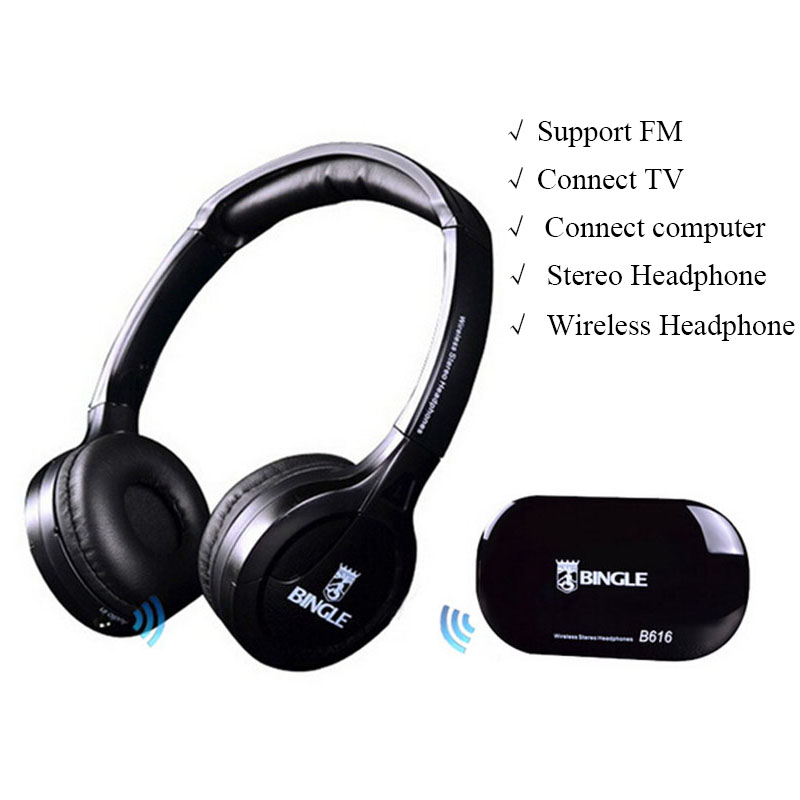 Bingle B616 Wireless headphone receiver support FM radio Multimedia devices Stereo Headset Headphones for TV computer Phone mp3 ks 508 mp3 player stereo headset headphones w tf card slot fm black