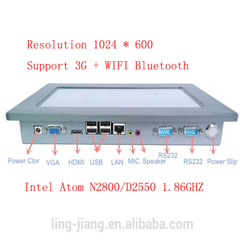10.1 inch Industrial Tablet PC 4-wire resistive Touch Screen with Intel Atom N2800 1.86Ghz CPU