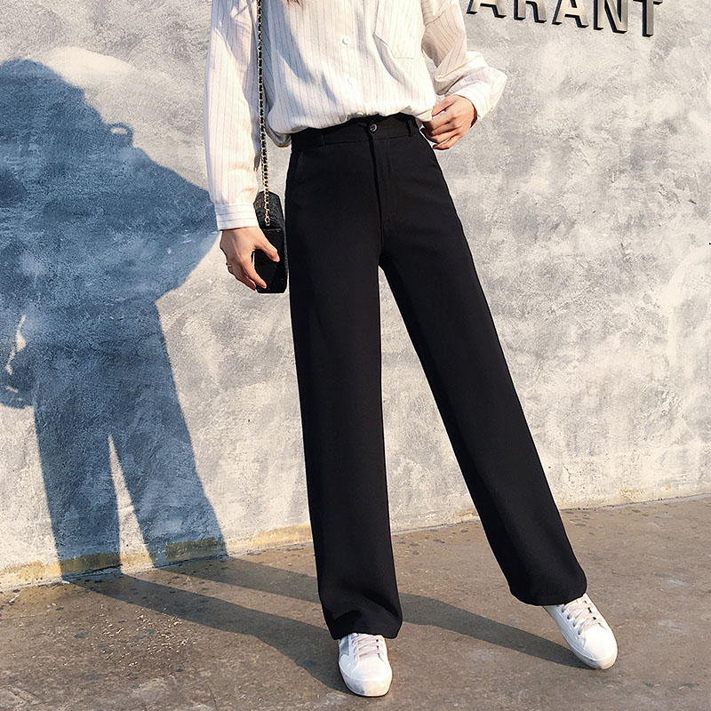 Tall women long pants full length smooth fabric straight wide leg pants female casual loose solid black trousers kpop fashion 3