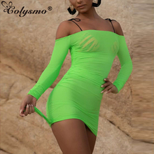 Colysmo Beachwear Summer Dress 2019 Women Sexy Off Shoulder Mesh See Through Bodycon Neon Green Casual Beach Pink