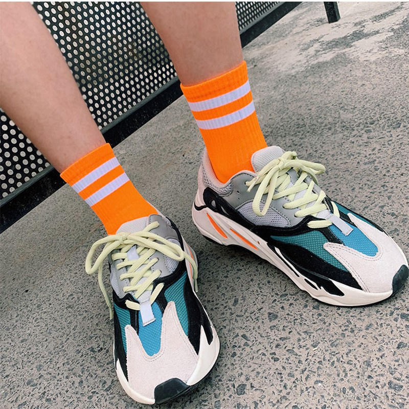 SP CITY 2Pairs Set New Arrival Colored Women Fluorescence Solid Striped Cool Socks Ins Style Fashion Student Hip Hop Durable Sox in Socks from Underwear Sleepwears