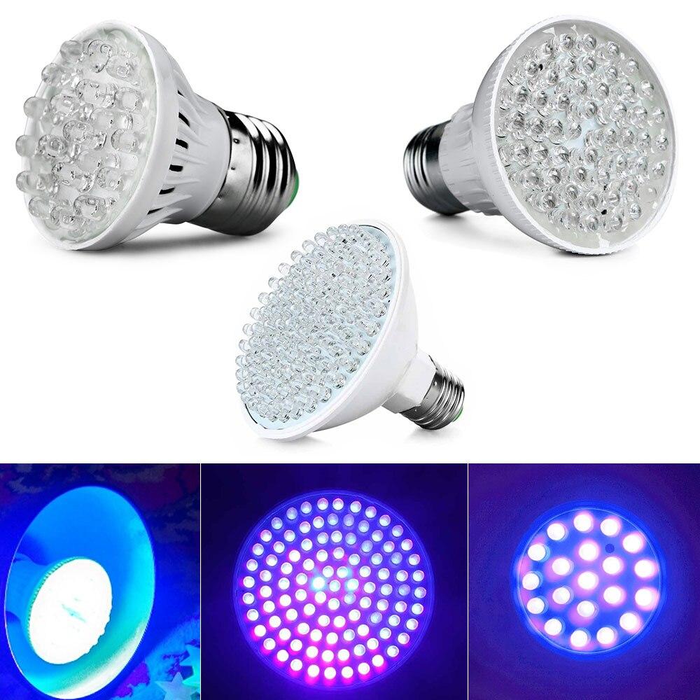 1PCS Led Lamp Ultra Bright E27 UV Lamp Ultraviolet Color Purple Light 100 / 50 /20LED Lamp Bulb 110/220V Led Energy Saving Party