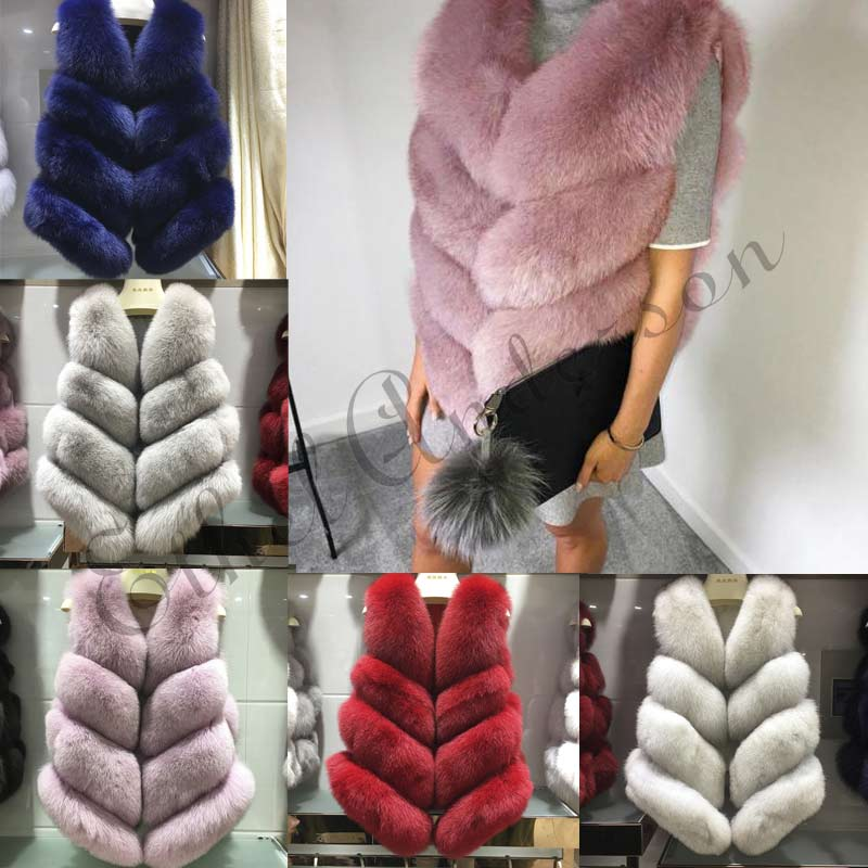 ETHEL ANDERSON Natural Whole Skin Fox Fur Vests Women's Real Fox Fur Gilets Waistcoat Winter Girl Fur Vest fourrure renard Coat
