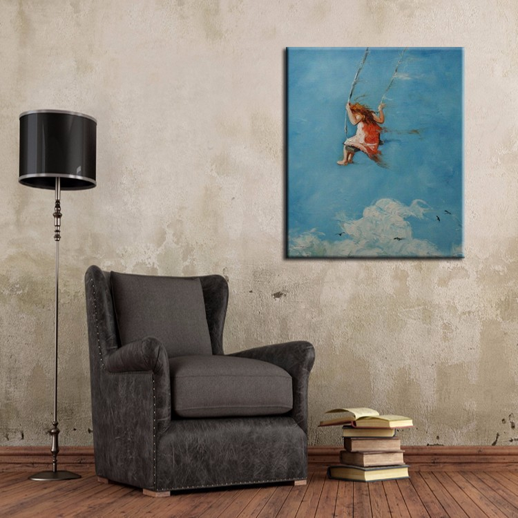 Home & Garden Confident 100%handpainted High Quality Kids Playing The Swing In Sky Landscape Oil Painting On Canvas For Living Room Wall Art Abstract 100% Guarantee