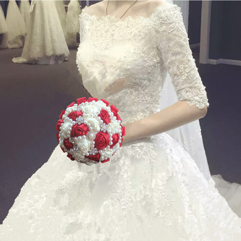 New Style Crystal Bridal Wedding Bouquet Wedding Decoration Wedding Supplies 18cm Bridal Bouquet