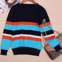 Smpevrg Autumn Winter New Round Neck Women Pullover Fashion Stripes Cashmere Female Sweater Long Sleeve Warm