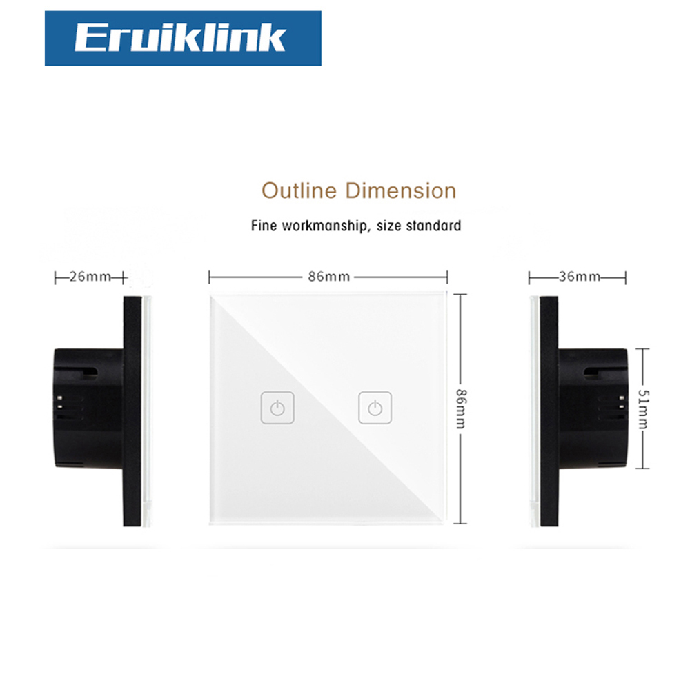 EU Standard SESOO 1 Gang 1 Way Light Touch Switch ,Wall Light Touch Screen Switch,Crystal Glass Panel Wall Switch For Smart Home