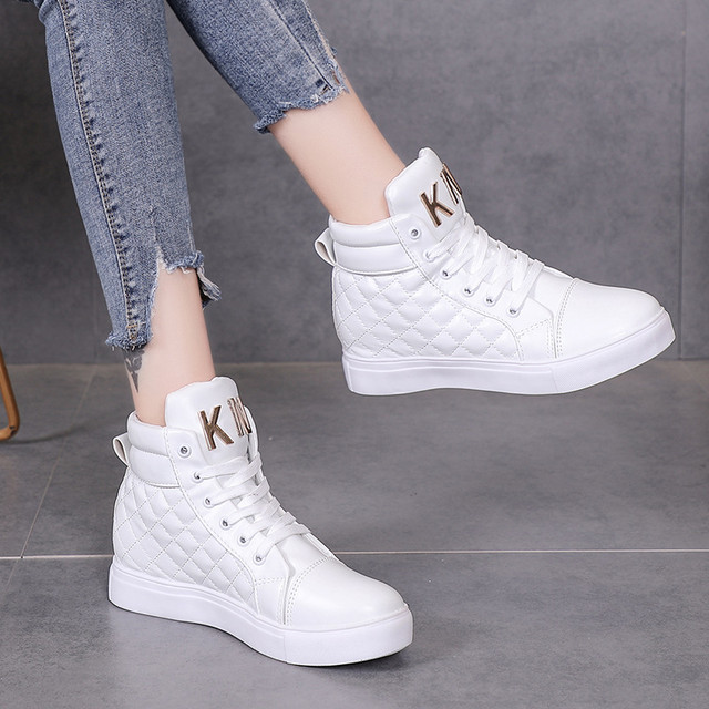 2018 Flock New High Heel Lady Casual black/Red Women Sneakers Leisure Platform Shoes Breathable Height Increasing Shoes 47