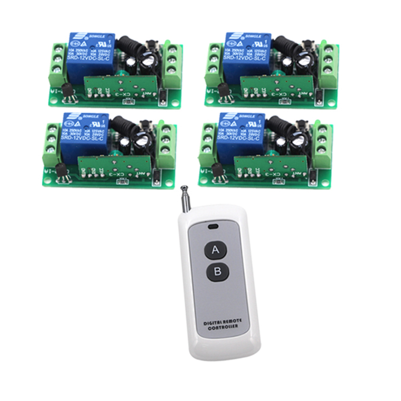 Free Shipping 1 Set DC12V 1 Channel Relay RF Switch Remote Control 1 Transmitter + 4 Receiver 315MHz 4208 free shipping 6 way m62446 5 1 channel volume remote control preamplifier kit for dc motor use