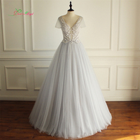 Dream Angel Robe De Mariee Short Sleeve A Line Wedding Dresses 2017 Sexy Backless Beaded V