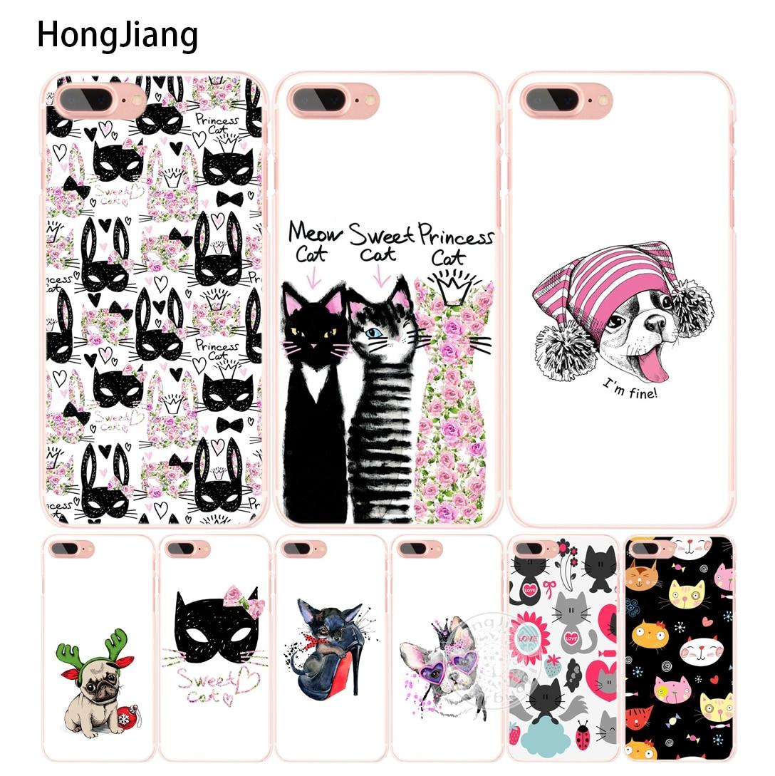 Hongjiang милый щенок Мопс Банни принцессы с рисунком кота мяу бульдог сотового телефона чехол для iPhone 6 4 4s 5 5S SE 5C 6 S 7 плюс 8 X