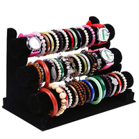 3 Tier Black Velvet Bracelet Chain Watch T Bar Rack Jewelry Organizer Hard Display Stand Holder Jewelry Display
