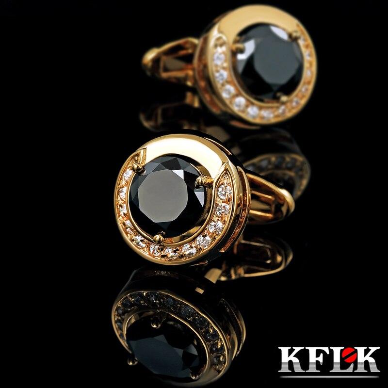 KFLK Luksuzni 2020 Nova majica s kratkimi rokavi HOT HOT za moške Blagovne gumbe manšete Zlata manšeta visoke kakovosti Črni abotoadura nakit
