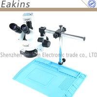 Simul focal 3.5X 90X Trinocular Stereo Zoom Microscope 16MP Microscope Camera Big Boom Stand + Repair Insulation Pad