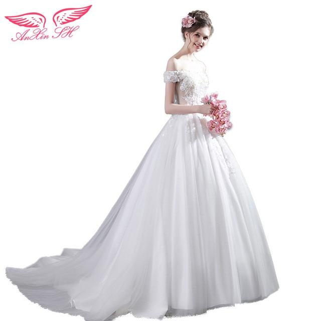 AnXin SH Princess White Rose Lace Wedding Dress Beading Crystal Flower Sleeve Korean