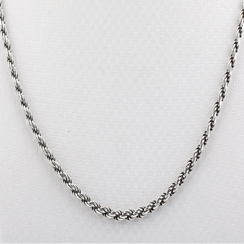 Twist Rope Necklace Vintage Authentic 100% 925 Sterling Silver Chain Fashion Necklace for Women and Men Jewelry Gift faux leather rope vintage necklace