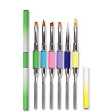 1PC 6 Colors Nail Art Brush Stainless Steel Nail Art Pen Dual-use Painting Palette Pen DIY Nail Art Manicure Tool makeup art design steel painting nail brush pen silver pink