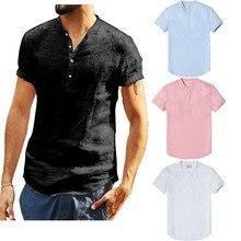 2019 Jersey Casual de lino de manga corta de cuello redondo de verano camisas sólidas Casual suelto suave Tops