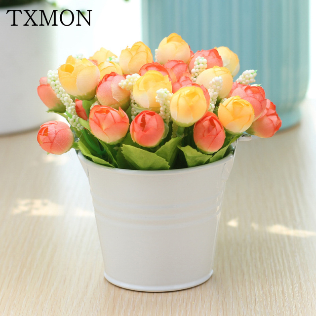 decorative silk artificial flower pot set with iron bucket vase mini