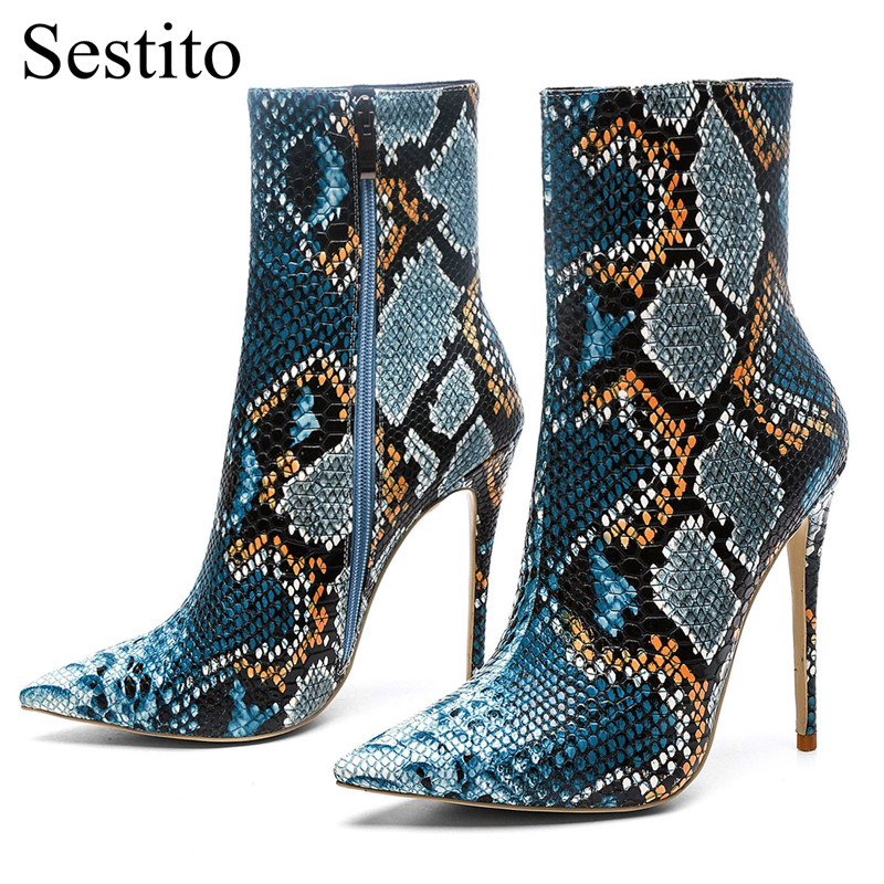 Newest Sexy Pointed Toe Snake Pattern Short Boots Ankle Boots For Women Super High Thin Heels Zip Ladies Shoes Spring/ Autumn