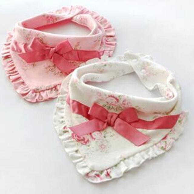 Baby Girl Bibs Flower Print Ruffles Slobber Towel 100% Organic Cotton Baby Girls Bib Burp Cute Newborn Bibs