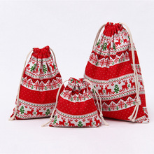 Festive Atmosphere Drawstring Bag Striped Cactus Christmas Women Small Cotton Cloth Bag Candy Gift Packaging Pouch Coin Purse