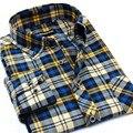 Otoño 2016 de Los Hombres de la Tela Escocesa Ocasional Camisas de Manga Larga Slim Fit Soft Comfort Franela Cepillado Camisa de Algodón Estilos de Ocio Hombre ropa