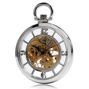 Image 3 - ¡Novedad! Reloj De bolsillo plateado con esfera abierta y esqueleto, cuerda a mano mecánica, reloj Fob, collar, accesorio, reloj De bolsillo