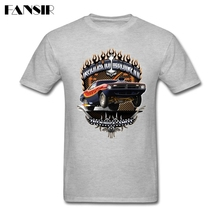 Muscle Car Barracuda Road Burn Men T-shirt High Quality Tshirts Male Short Sleeve Cotton Custom Over Size Summer Tees For Family