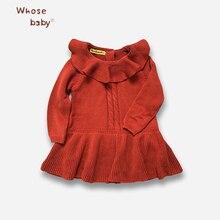 Automne Filles Tricoté Robe Coton Pétale Col Princesse Robes Pour Filles 2017 Nouveau Belle Ruches Robe Pull Enfants Vêtements