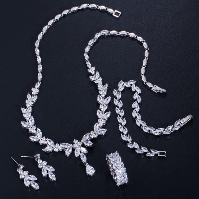 CWWZircons 4 Uds brillante cúbico pendientes y collar con circones anillo y pulsera joyería nupcial de la boda establece vestido accesorios T344 4
