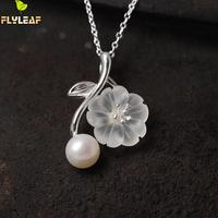 925 Sterling Silver Jewelry Crystal Plum Flower Necklaces Pendants For Women High Quality Lady Gift Accessories