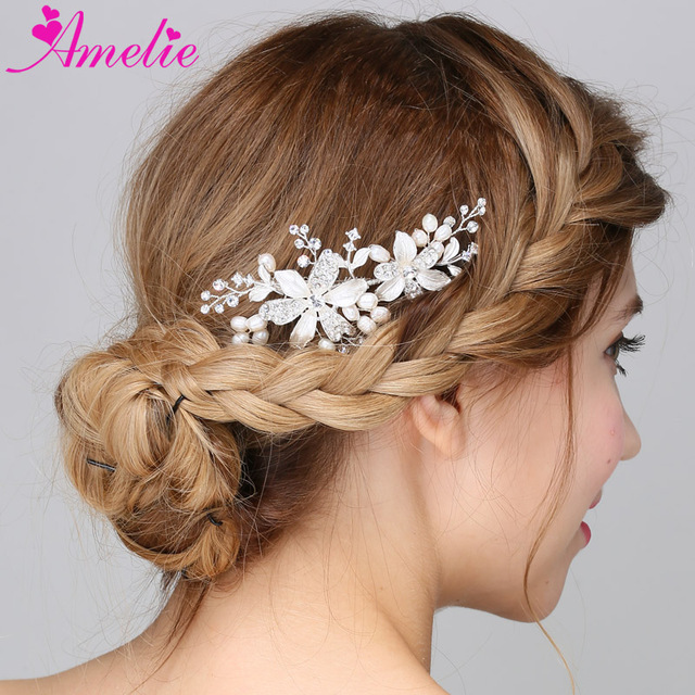 128f8fc45c US $47.18 20% OFF|Aliexpress.com : Buy 5pcs Lot Charming Silver Plated  Flowers with Rhinestone and Pearl Wedding Bridal Hair Comb Side Comb ...