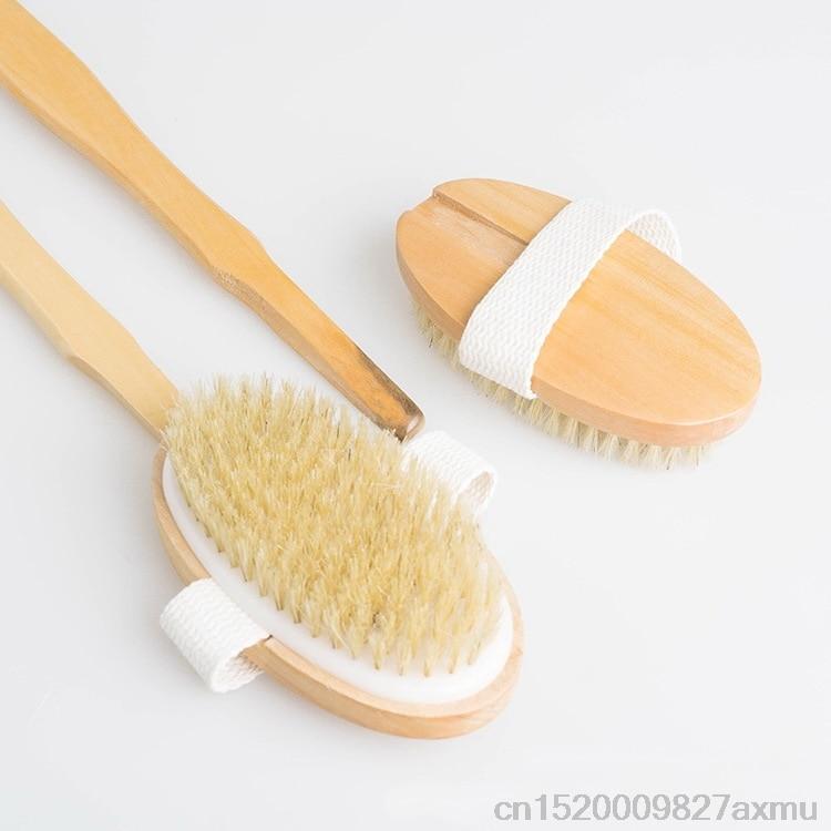 200PCS Natural Bristle Body Brush Long Handle Wooden Spa