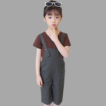 Kids Summer Clothes Causal Set Girl Cotton Shirt+Half Wide-Leg Rompers Overalls 2 Pcs Girls 3 4 6 8 10 12 13