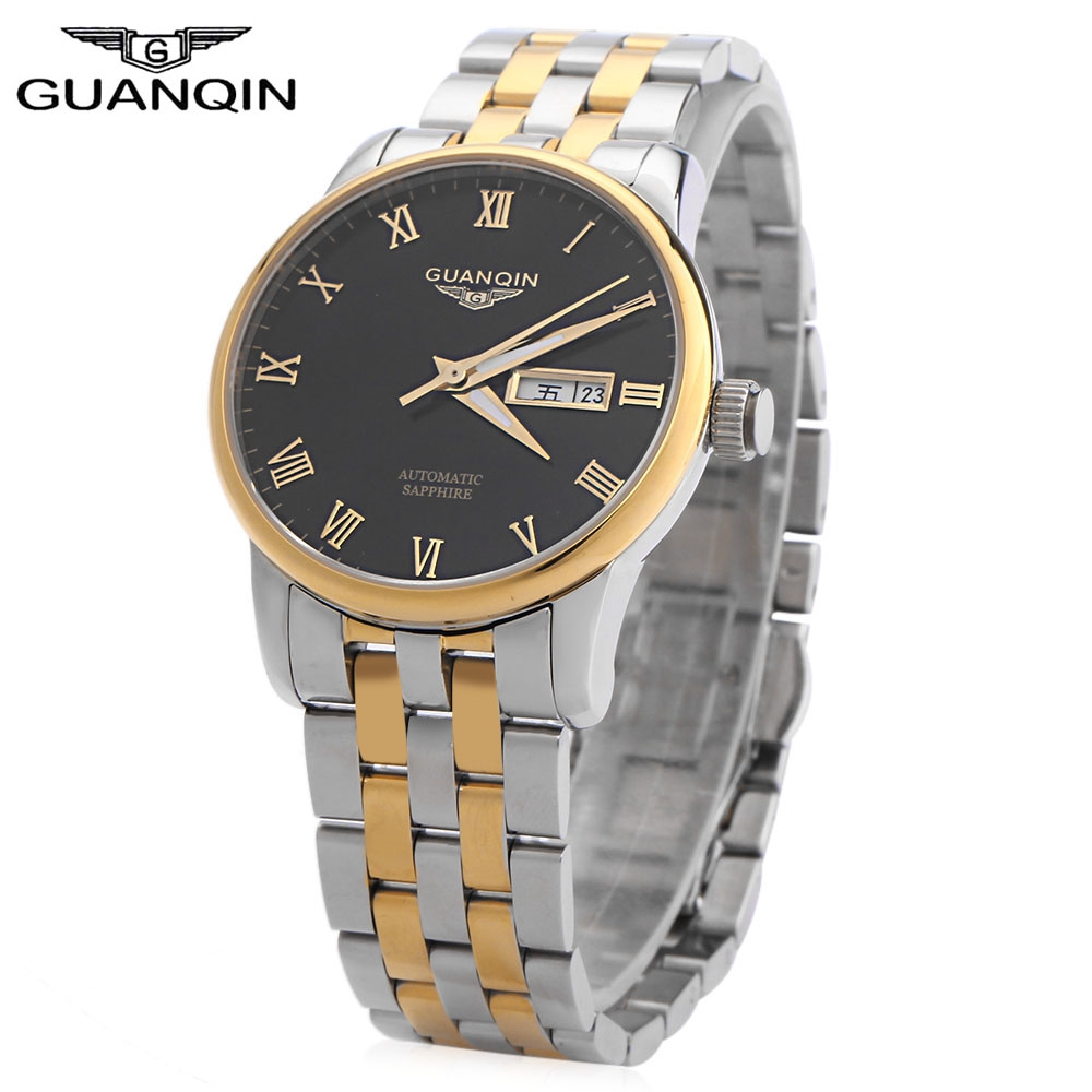 GUANQIN Men Auto Mechanical Watch Calendar Luminous Pointer Roman Numerals Scale Transparent Back Cover Wristwatch цена 2017