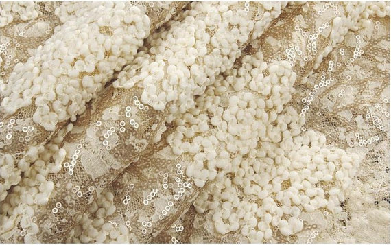 delicate vanilla beige backgrounds - 3D Champagne lace fabric with sequins, heavy embroidered sequin lace fabric, stretch lace fabric with 3d florals, prop, backdrop