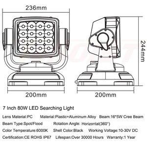 Image 2 - Le plus récent un pièces 80W 360 degrés Rotable LED recherche lumière de chasse avec Base magnétique pour Seaboat SUV voiture 12V 24V