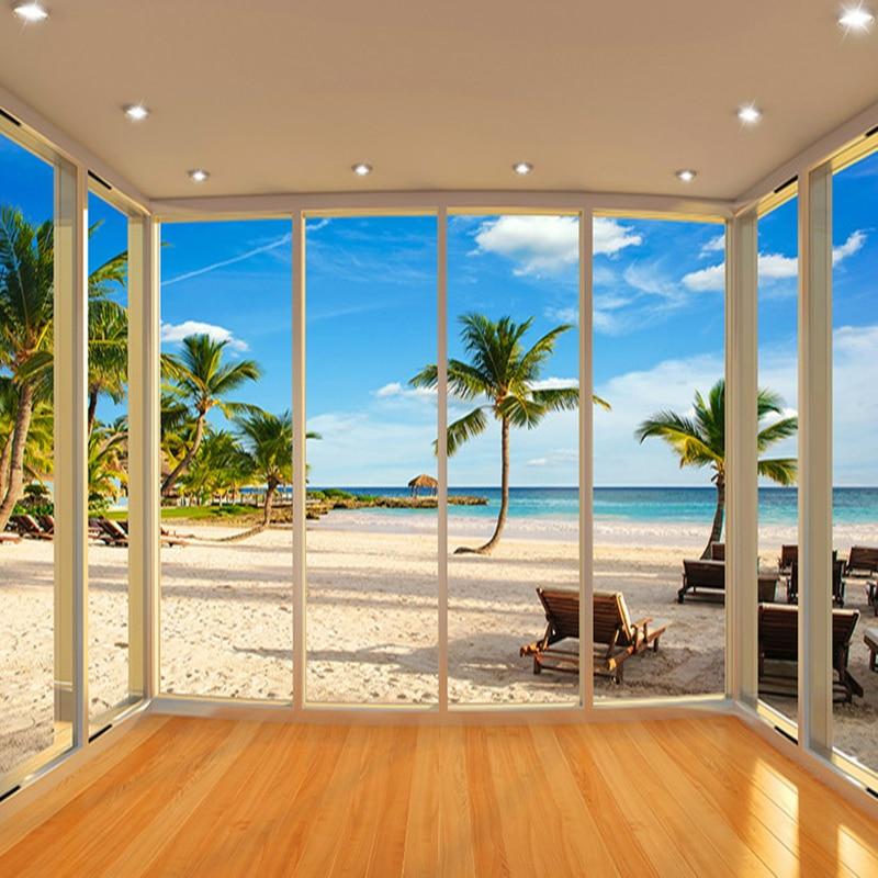 3d Wallpaper For Living Room Wall Latest Outside The Window Aegean Sea Balcony Landscape 3d