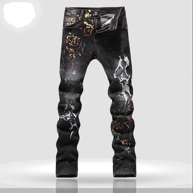 Men's hole patch ripped jeans Slim fit patchwork print denim pants Fashion pocket long trousers Plus Size 28-36