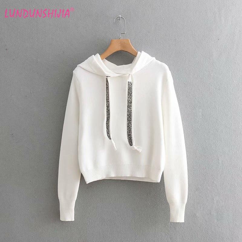Detail Feedback Questions about LUNDUNSHIJIA 2018 Autumn Winter Women  Sweatshirt Glitter Stone Knitting Hoodies Short Style Sweatshirt Jumper 3  Colors on ... 899fa7fe1e61