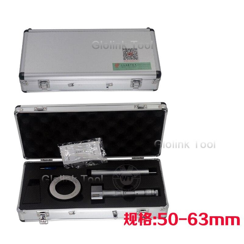 50 63mm Three point internal Micrometers three point inside micrometer 50 63mm 0.005mm gauge measurement tool-in Micrometers from Tools    1