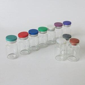 Image 1 - Leere 10ML Klar Injection Glas Fläschchen mit Kunststoff Aluminium Kappe 10CC Transparente Flüssigkeit Medizin Glas Container