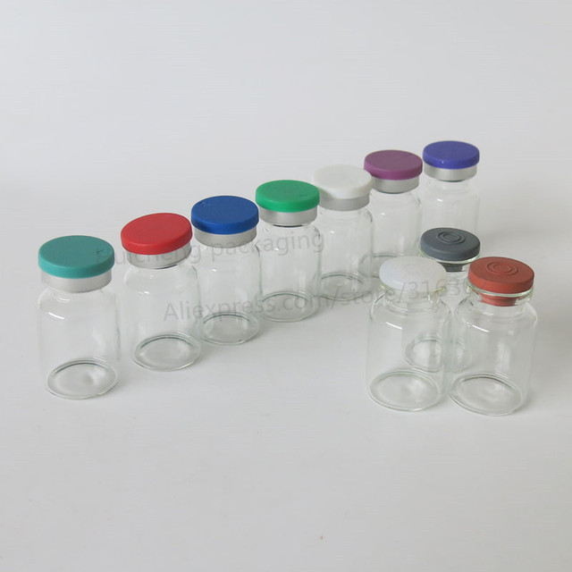 Leere 10ML Klar Injection Glas Fläschchen mit Kunststoff Aluminium Kappe 10CC Transparente Flüssigkeit Medizin Glas Container