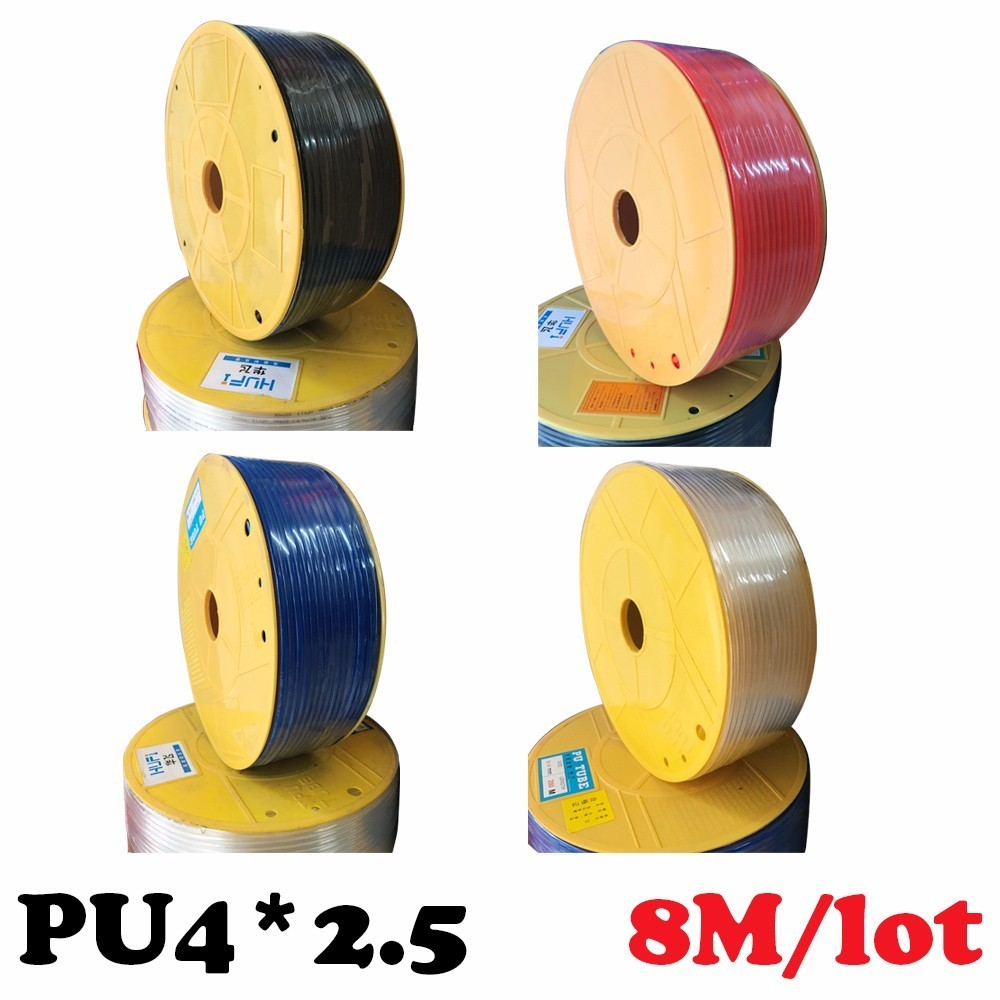 PU4*2.5 8M/lot Free shipping Air hose, high pressure hose, air compressor Pneumatic parts 4mm PU Pipe  for air pneumatic hose beibehang classic feature solid wall paper plain stripe non woven home decor papel de parede 3d wallpaper roll for bedroom white