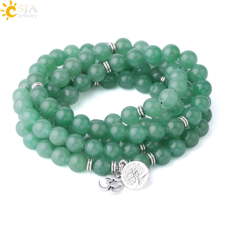 CSJA 10mm Natural Stone Green Aventurine Bracelet 108 Mala Bead Prayer Rosary Multilayer Yoga 3D Charms Bracelets Women Men F877