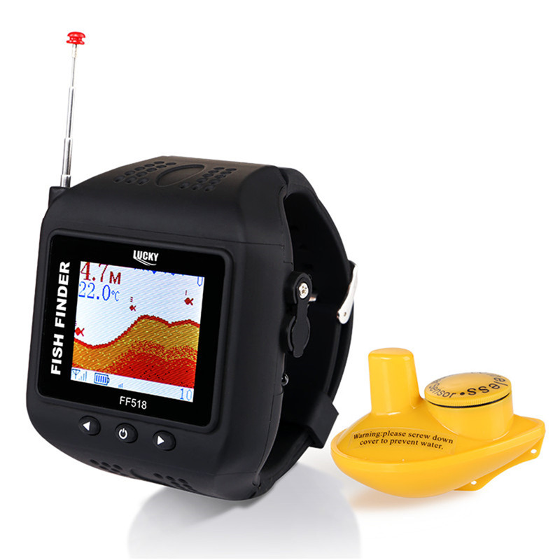 CHANCEUX FF518 Sonar Fish Finder Sans Fil Sondeur 180 Pieds (60 m) gamme Portable Echo Sondeur De Pêche Montre Sur Main