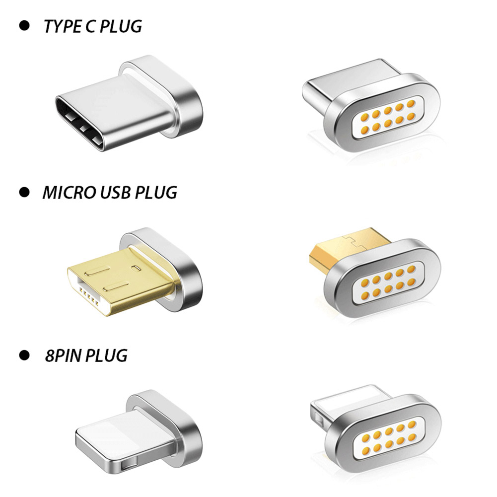 Micro USB Type-C 8 Pin Plug Transfer Connector Magnetic Adapter Charging For IPhone Mobile Phones Tablets PC IOS Android System
